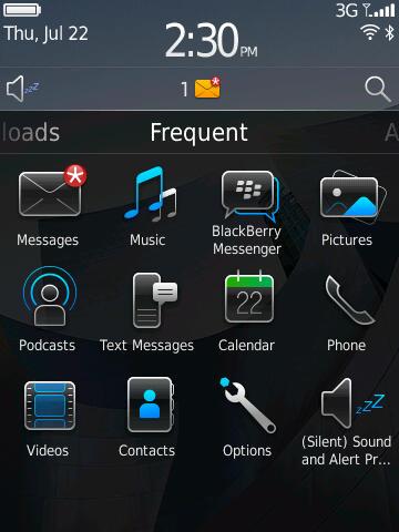 Blackberry 6: Neuer Startbildschirm bringt mehr Komfort - Blackberry 6 - Startbildschirm mit den zuletzt verwendeten Programmen