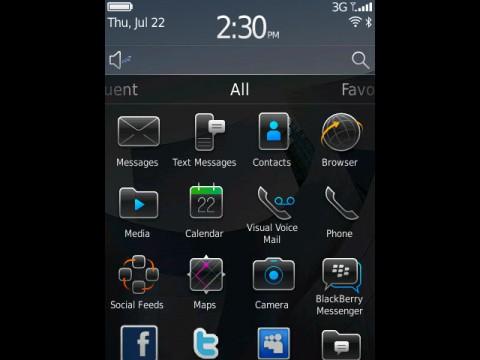 Blackberry 6 - Startbildschirm mit allen Applikationen
