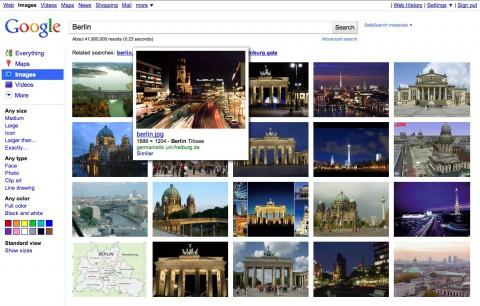 Googles Bildersuche mit mehr und größeren Bildern