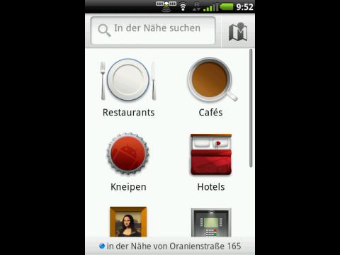 Google Maps 4.4 - In der Nähe - Startbildschirm