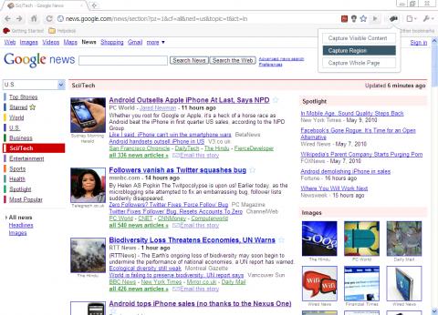 Google: Chrome-Erweiterung Screen Capture (oben rechts)