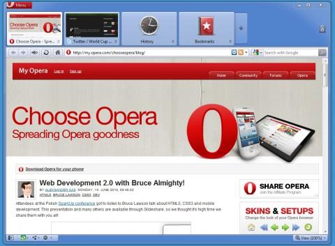 Opera 10.60 - Tabvorschausymbole für Verlauf und Lesezeichen