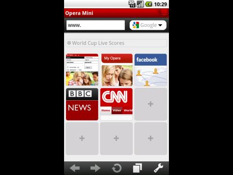 Opera Mini 5.1 auf Android - Schnellwahlseite