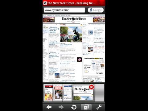 Opera Mobile 10.1 für S60 - Webseite mit mehreren Browsertabs