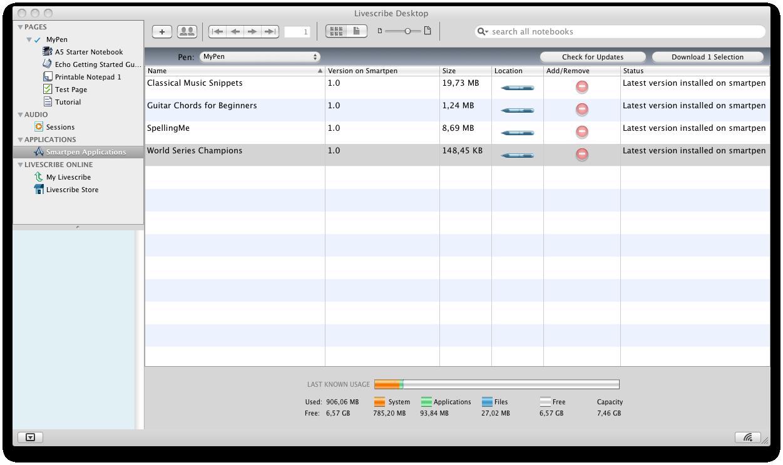 Echo Smartpen im Test: Der Kugelschreiber mit Kamera und Mikrofon - Livescribe-Software unter Mac OS X. Zu sehen sind installierte Apps.