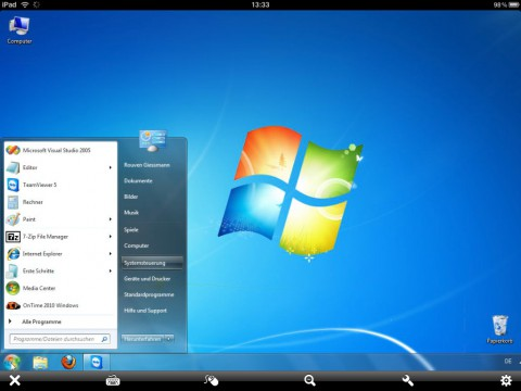 Teamviewer HD fürs iPad mit Windows-Fenster