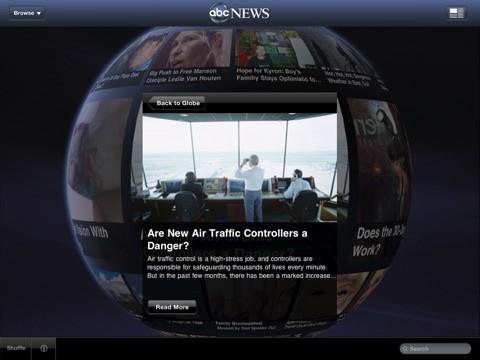 ABC News for iPad - die Kugel mit der Nachrichtenauswahl