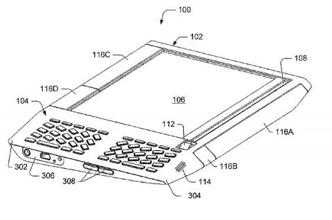 Dieses Design hat sich Amazon patentieren lassen. Rechts neben dem großen Display sitzt das kleine. (Nr. 108) (Bild: Patentschrift)