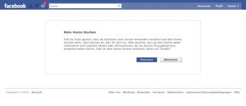 Die aktuelle Account-Löschfunktion von Facebook ist schwer zu finden