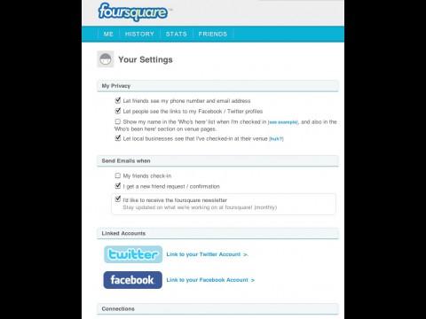 Foursquare - neue Einstellungen für Privatsphäre