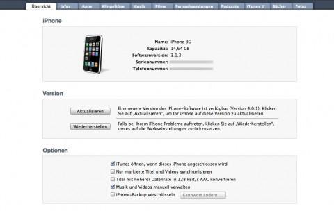 iPhone 3G wieder mit iPhone OS 3.13
