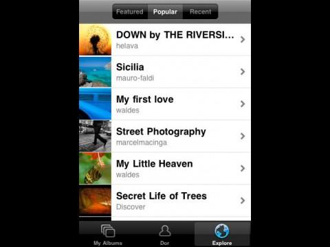 Jalbum-iPhone-Anwendung - populäre Alben