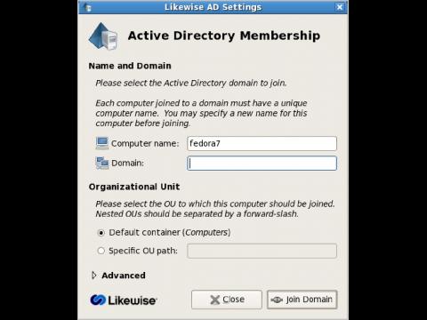 Anmeldung über Likewise an einen Active-Directory-Server unter Linux...