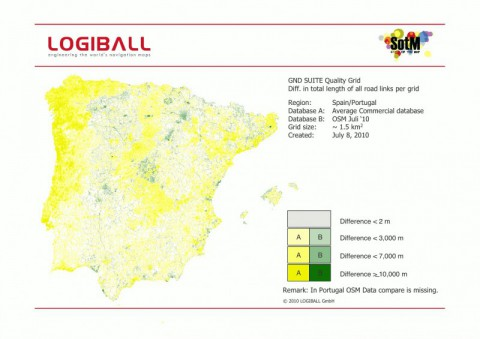 Logiball vergleich OSM-Daten mit kommerziellen karten