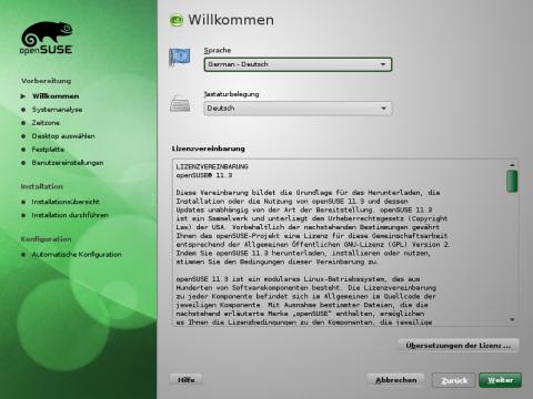 Der Installation von der Opensuse-11.3-DVD ist in wenigen Schritten erledigt.