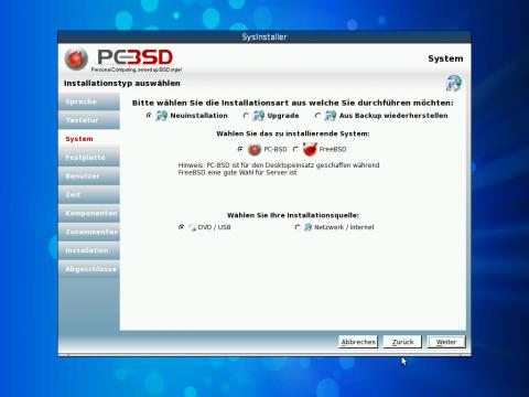 Der grafischer Installer unter PC-BSD