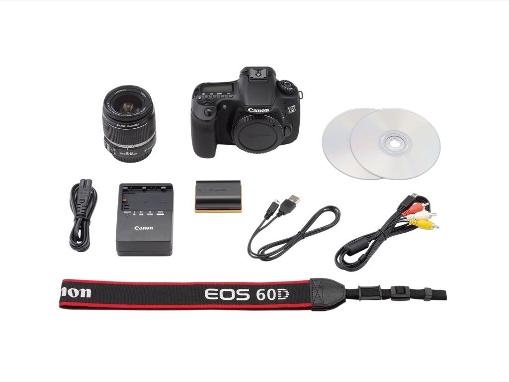 Canon: EOS 60D mit Schwenkdisplay und Full-HD-Videoaufzeichnung - Canon EOS 60D - Lieferumfang mit 18-55-mm-Kitzoomobjektiv