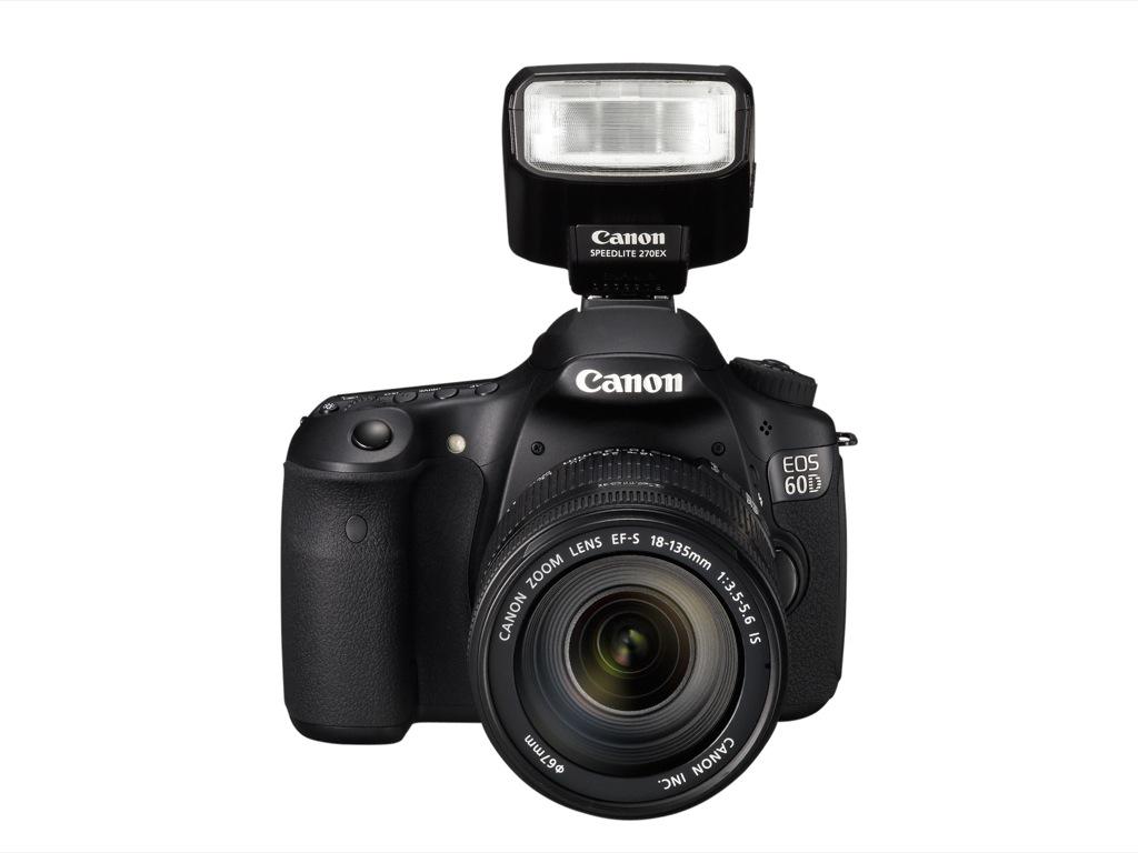 Canon: EOS 60D mit Schwenkdisplay und Full-HD-Videoaufzeichnung - Canon EOS 60D mit aufgesetztem Blitz 270EX