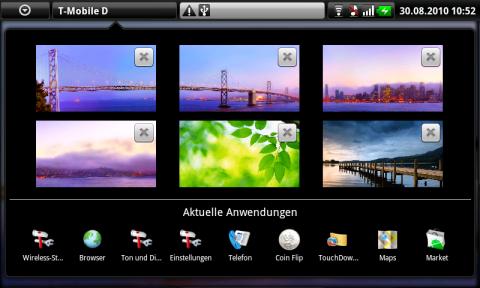 Die Startbildschirme und zuletzt verwendete Anwendungen in der Übersicht
