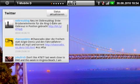 Das Twitter-Widget. Auf einem normalen Handydisplay wäre es viel zu groß - auf dem Dell Streak ist es praktisch.
