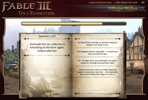 "Fable 3: Browsergenerierung des ""Village Maker"""