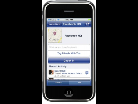Place-Seite in Facebooks iPhone-Applikation