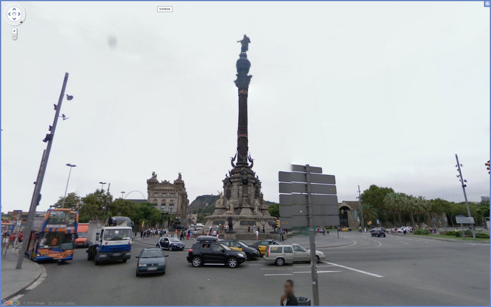 Street View: Das eigene Haus kann ab sofort verpixelt werden - Google Street View: Mirador de Colom in Barcelona
