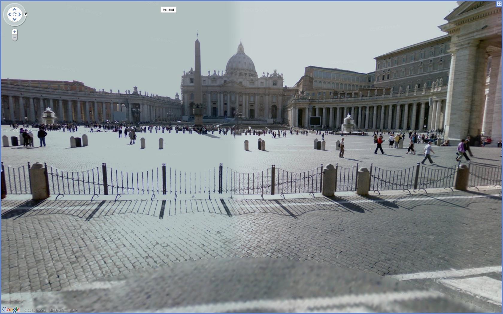 Street View: Das eigene Haus kann ab sofort verpixelt werden - Google Street View: Petersdom in Rom