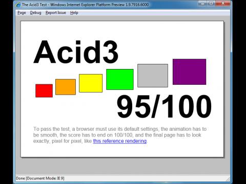 IE9 PP4 erreicht 95 Punkte im Acid3-Test.