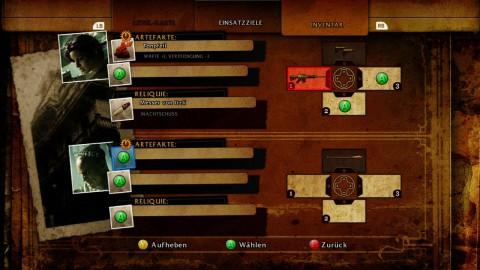 Waffen und Fähigkeiten wählt der Spieler im Menü aus.