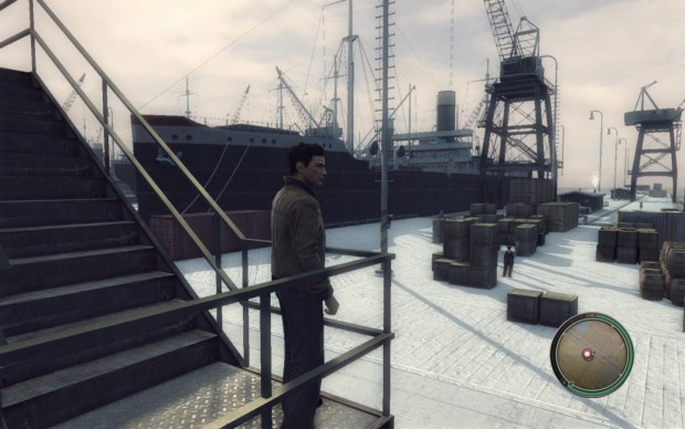 Vito erledigt eine Mission im Hafen.