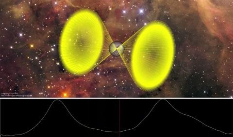 Der neu entdeckte Pulsar PSR J2007+2722 (Bild: AEI Hannover)