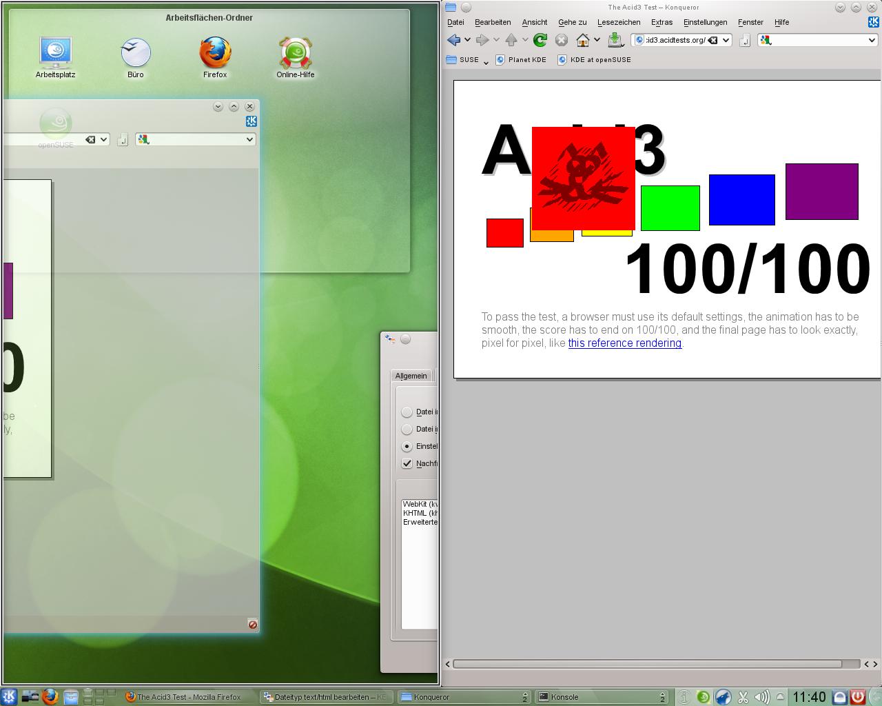KDE SC 4.5: Neue KWin-Effekte und verbessertes Benachrichtigungsfeld - Der Fenster-Manager Kwin wurde mit einer Tiling-Funktion ausgestattet, die Fenster nebeneinander platziert.