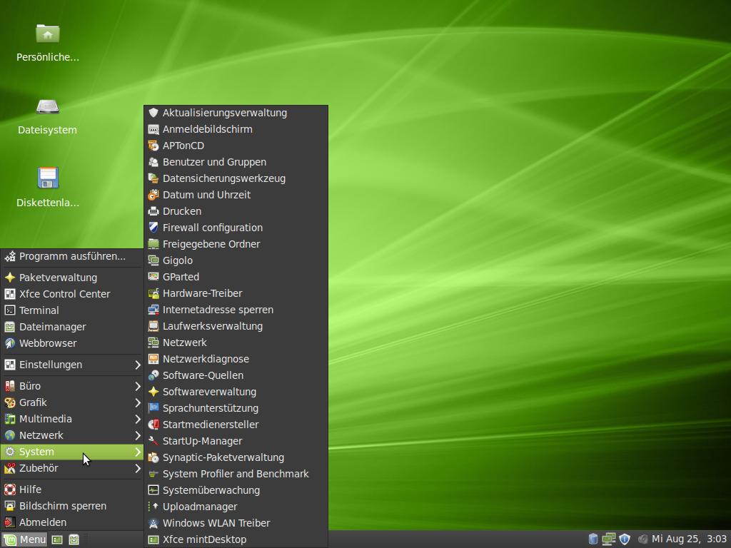 Linux Mint: Isadora mit XFCE-Desktop