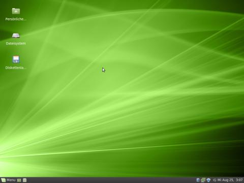 Die Benutzeroberfläche von Linux Mint XFCE ist in dem gleichen Grün gehalten wie das Original.
