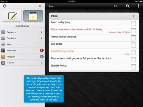 Omnifocus iPad - Inbox