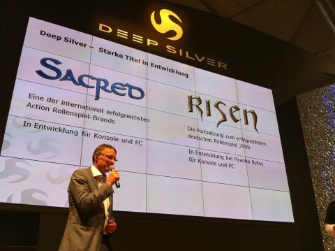 Koch-Media-Chef Klemens Kundratitz kündigt Risen 2 und Sacred 3 an. (Foto: ck)