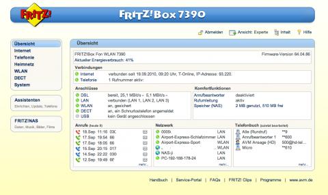 Fritz-Box Überischtsseite