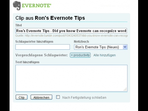 Evernote Site Memory