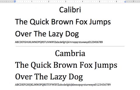 Schriftarten: Calibri und Cambria