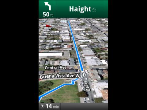 Google Maps 4.5 für Android - Fußgängerroutenführung