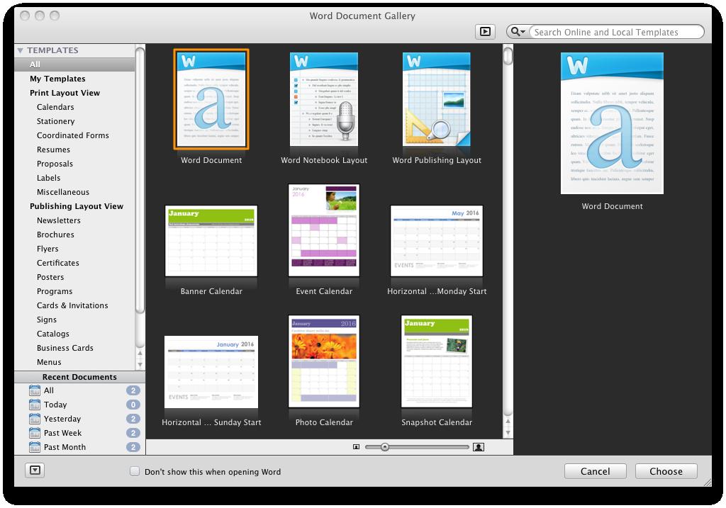 Office 2011: Mac-Version mit Outlook, aber ohne Opendocument - Vorlagenauswahl