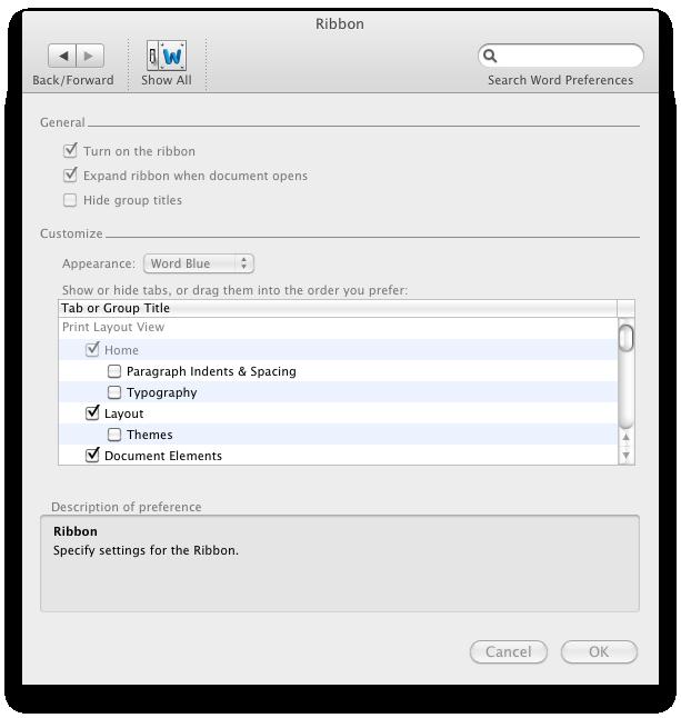 Office 2011: Mac-Version mit Outlook, aber ohne Opendocument - Ribbon-Einstellungen