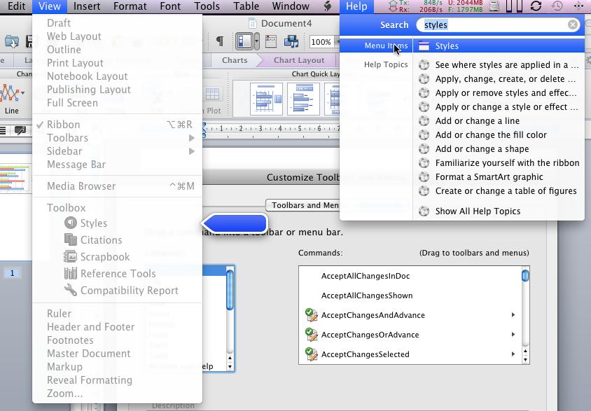 Office 2011: Mac-Version mit Outlook, aber ohne Opendocument - Wer bestimmte Kommandos sucht, kann sie unter Mac OS X leicht finden.