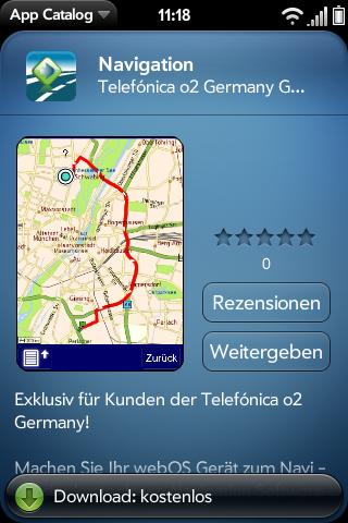 Telmap Navigator: O2 bietet kostenlose Navigationssoftware für Palm Pre - Telmap Navigator im App Catalog