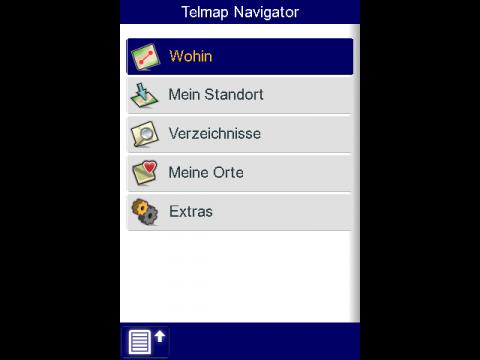 Telmap Navigator - Hauptbildschirm