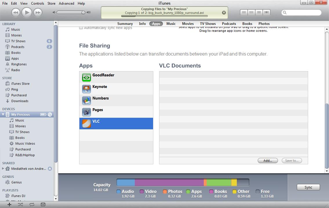 Mediaplayer: VLC fürs iPad - Synchronisieren mit dem VLC-Player...
