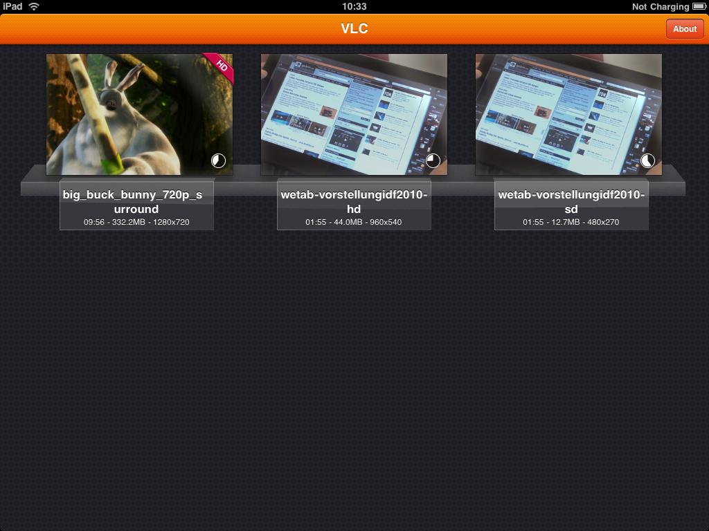 Mediaplayer: VLC fürs iPad - Videofortschritt in der Voransicht. Das Video in der Mitte mit 960 x 540 Pixeln ist auch nicht korrekt abspielbar.
