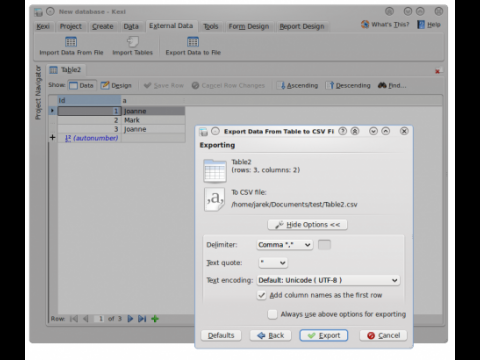 Das Datenbank-Frontend Kexi in KOffice 2.3 Beta 1