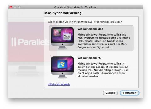 Parallels Desktop 6 für Mac - Wahl zwischen Coherence- oder Vollbildmodus (Bild: Parallels)
